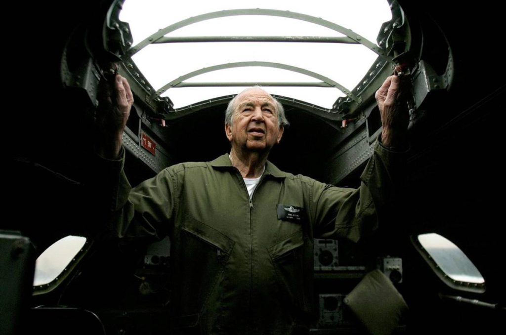 """World War II-era B-17 bomber in April 2008 just before a two-day flight to Washington, D.C., to take part in a memorial celebration dedicated to U.S. airmen who died during the war. A former Air Force and commercial pilot, Lyon flew the plane himself but took a support crew with him. The man affectionately known as """"the general"""" officially retired in February from the homebuilding empire he founded in 1954. (Register file photo by Mindy Schauer)"""